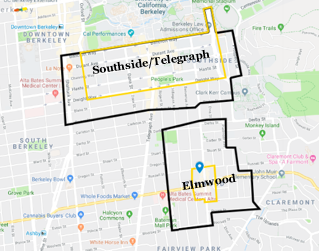 map with boundaries drawn around the Southside/Telegraph neighborhood and the Elmwood neighborhood