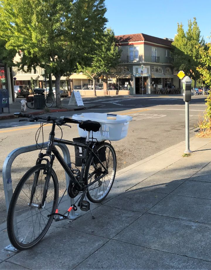 a bike locked up near the corner of College Avenue and Russell Street